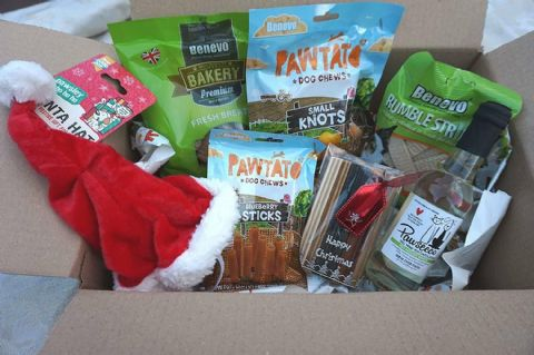 VEGAN VEGETARIAN VEGGIE CHRISTMAS DOG GIFT HAMPER BOX WITH HAT TREATS & DOG WINE